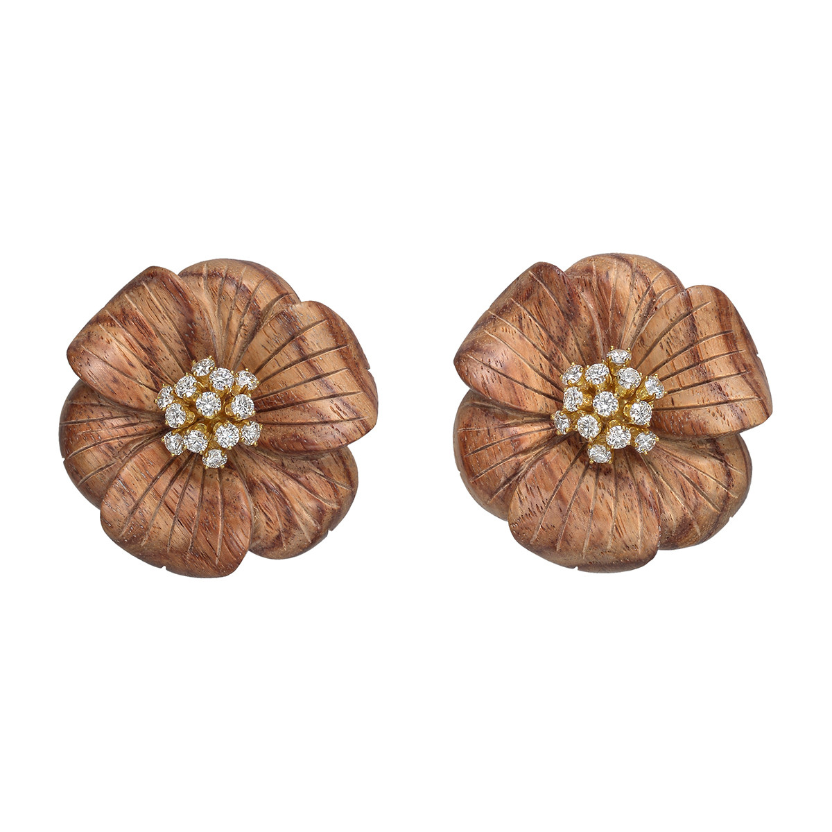 Rosewood & Diamond Flower Earrings