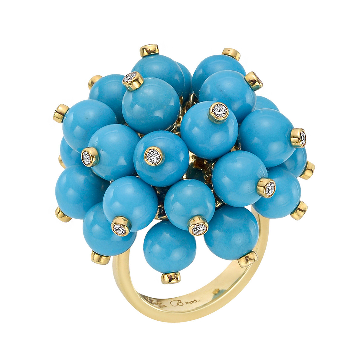 Turquoise Bead & Diamond 'Pom Pom' Ring