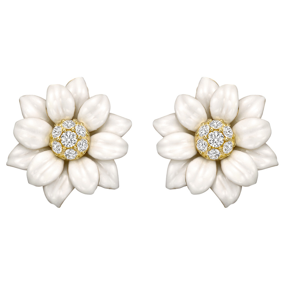 Aletto Brothers White Enamel Flower Earrings Betteridge