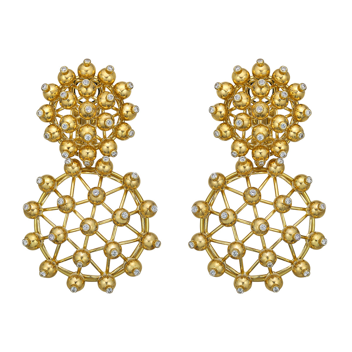 "18k Yellow Gold & Diamond ""Wheel"" Drop Earrings"