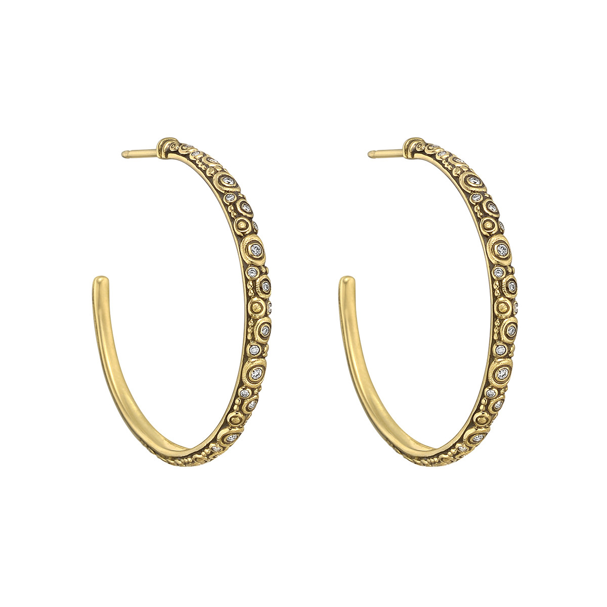 "18k Yellow Gold & Diamond ""Circle"" Hoop Earrings"
