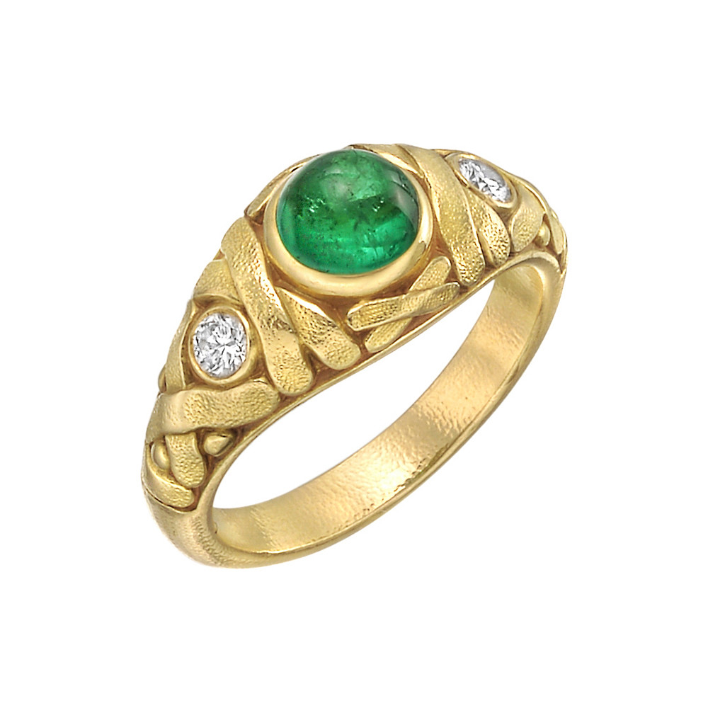 18k Yellow Gold, Emerald & Diamond Ring