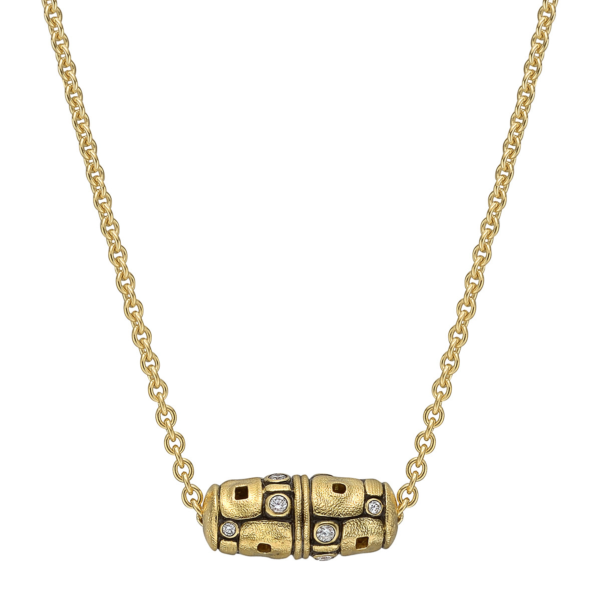 "18k Yellow Gold & Diamond ""Little Windows"" Barrel Pendant"