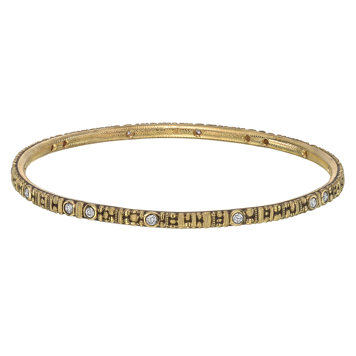 "18k Yellow Gold & Diamond ""Seashore"" Bangle"