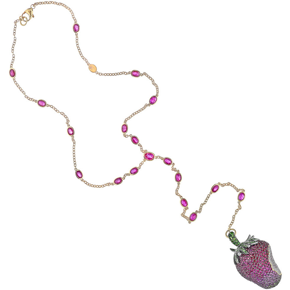Ruby & Gem-Set Strawberry Pendant Necklace
