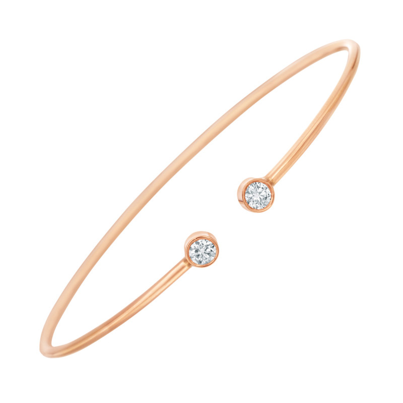 18k Rose Gold Double Diamond Twist Bangle