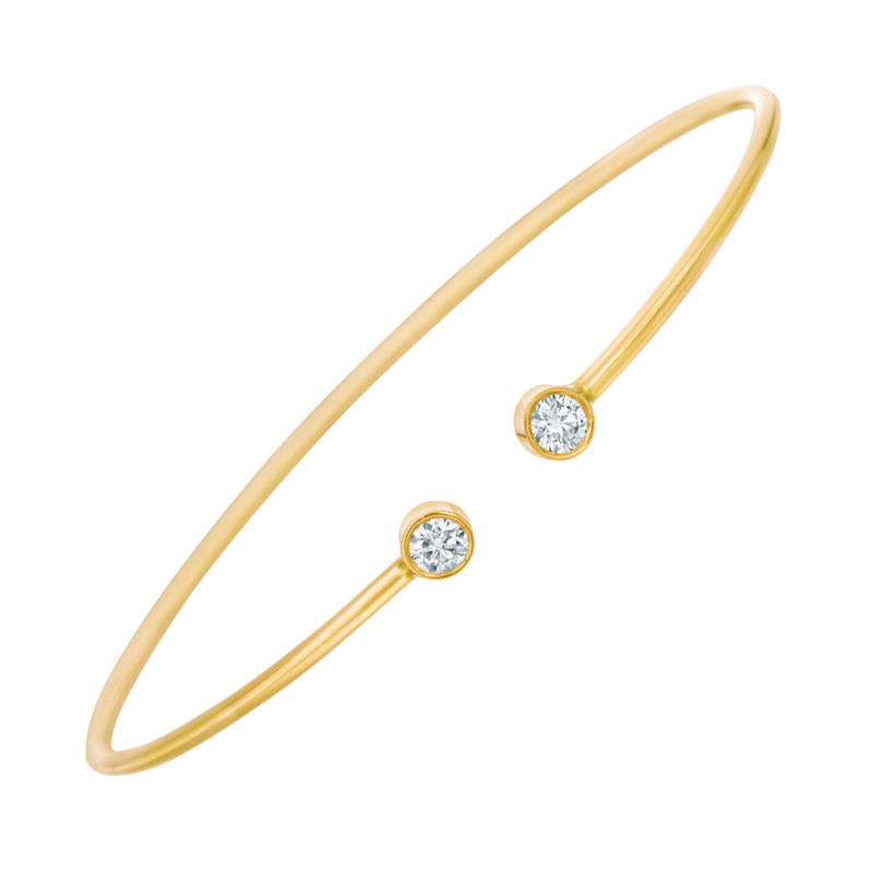 18k Yellow Gold Double Diamond Twist Bangle