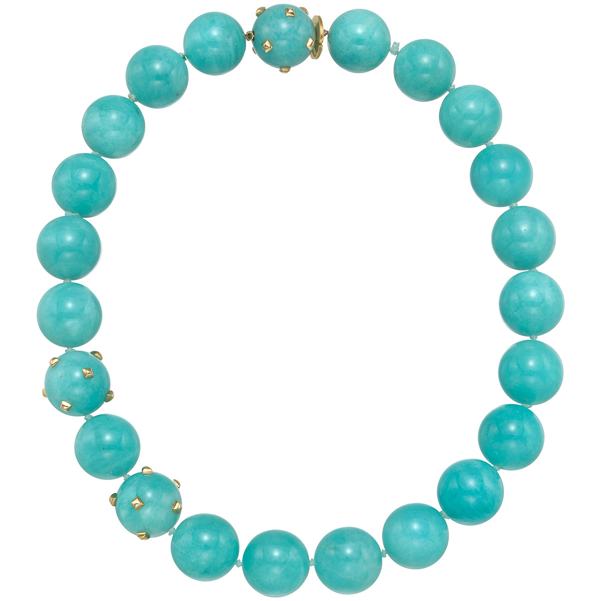 Amazonite & 18k Yellow Gold Bead Necklace