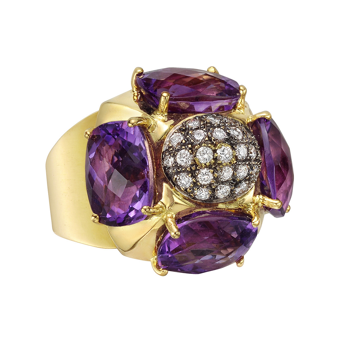 Amethyst & Diamond Flower Ring