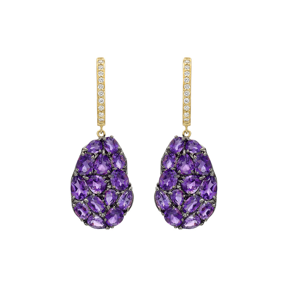 Amethyst & Diamond Petal-Shaped Drop Earrings