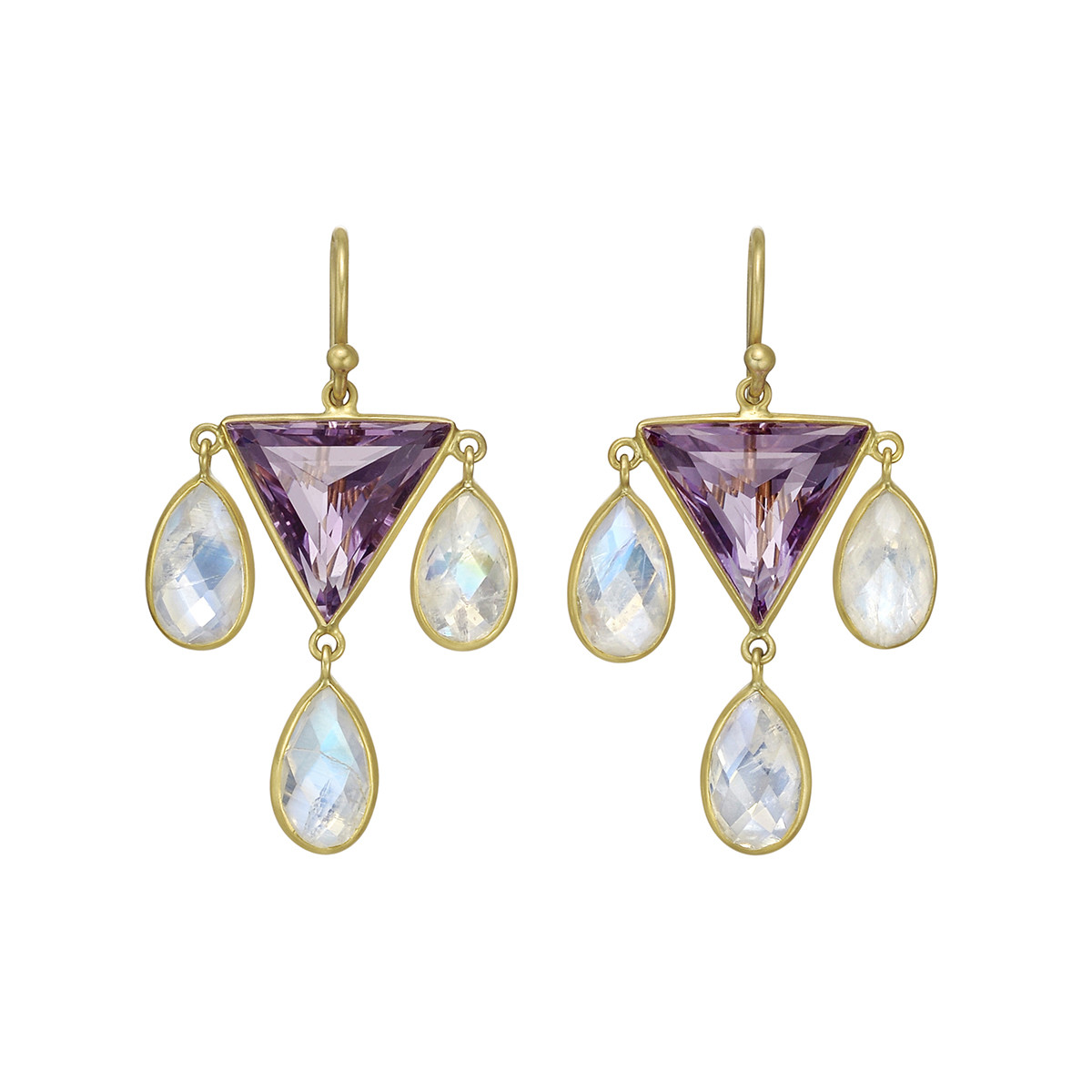 Amethyst & Moonstone Drop Earrings