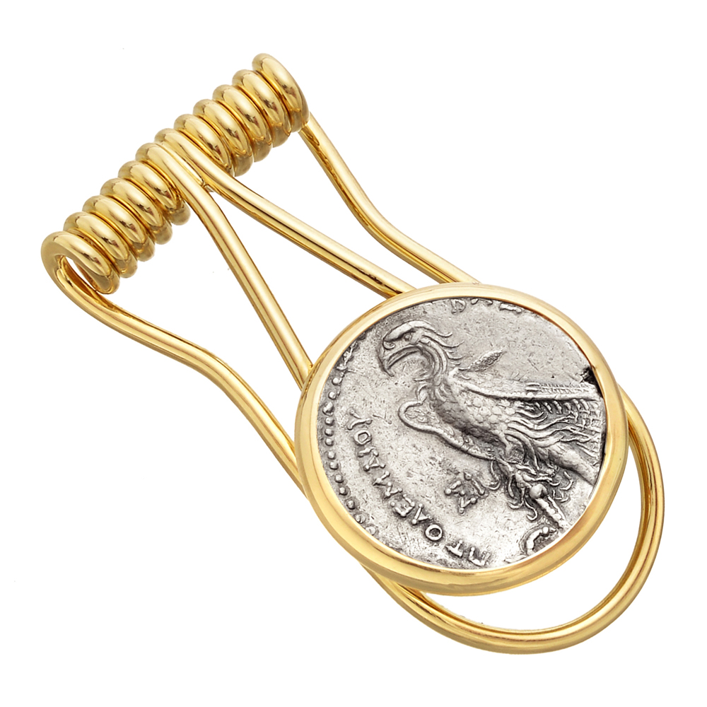 Ancient Roman Coin & 14k Gold Money Clip