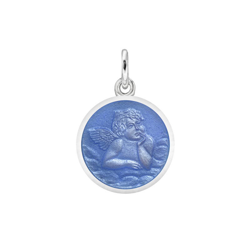 XS Silver Angel Medal with French Blue Enamel