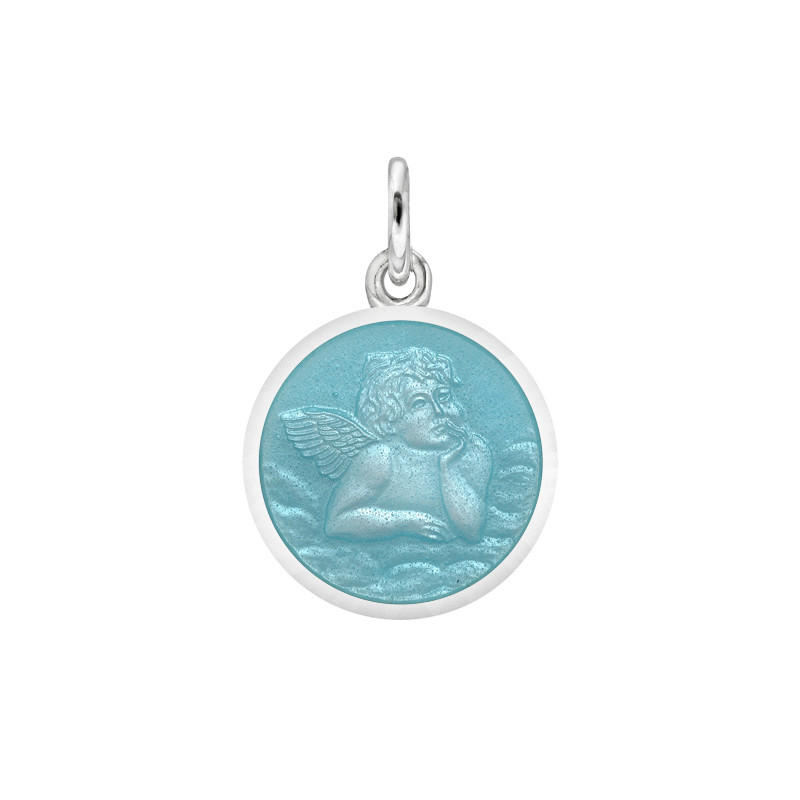 XS Silver Angel Medal with Light Blue Enamel