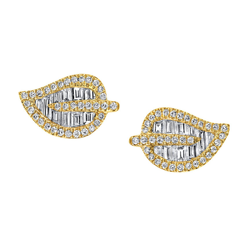 18k Yellow Gold & Diamond Leaf Stud Earrings
