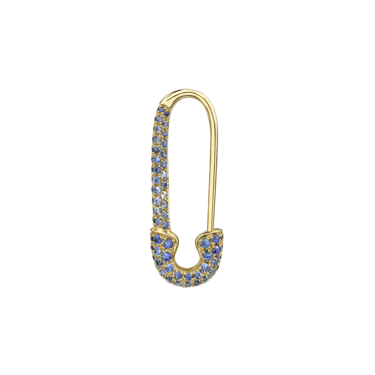 18k Yellow Gold & Sapphire Safety Pin Earring