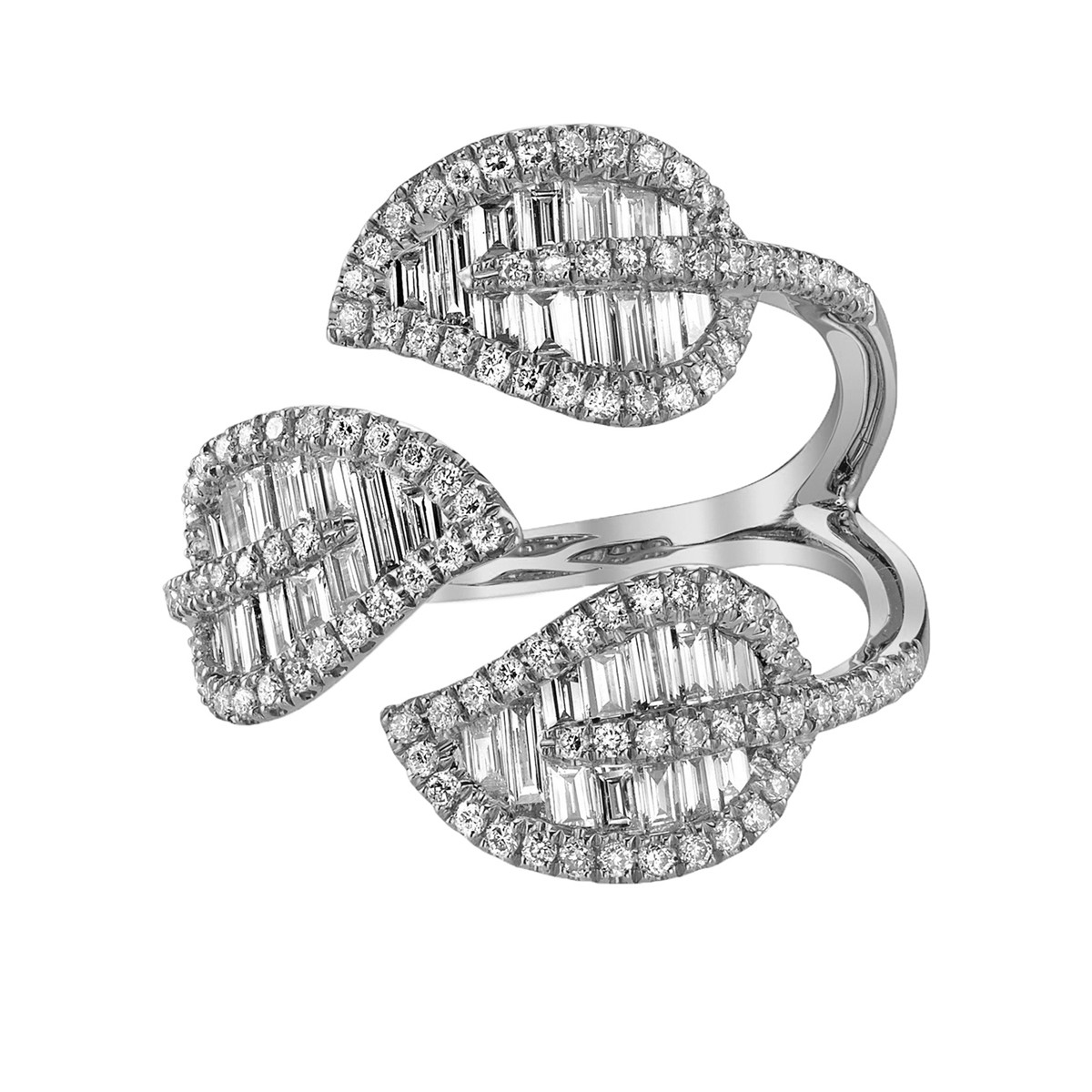 18k White Gold & Diamond 3-Leaf Wrap Ring