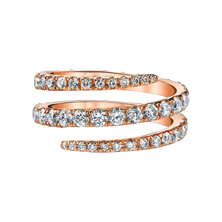 18k Rose Gold & Diamond Coil Ring