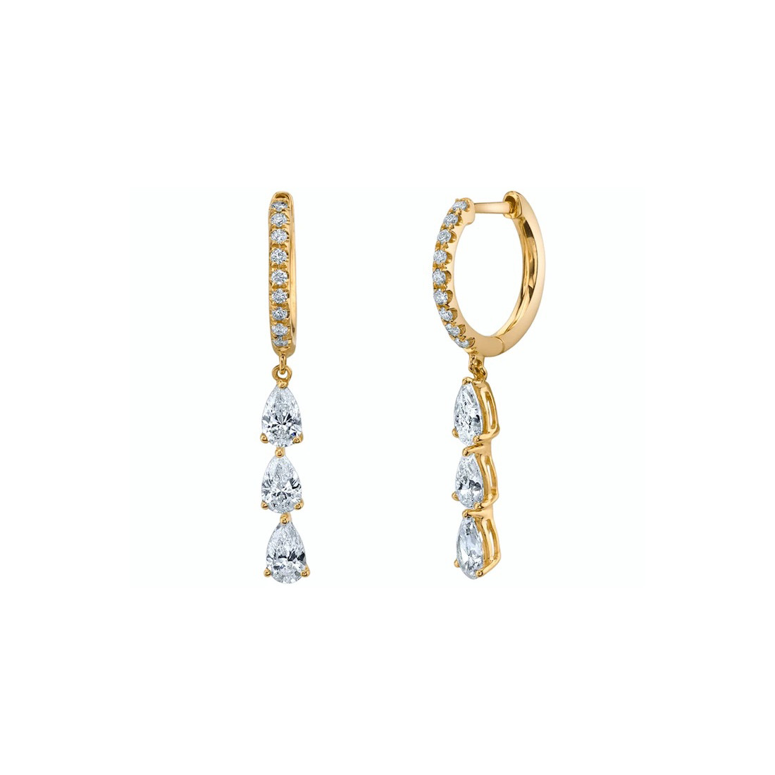 18k Yellow Gold & Diamond Huggies with Diamond Drops