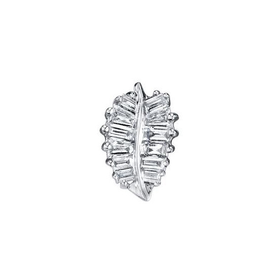 18k White Gold & Diamond Palm Leaf Stud Earring