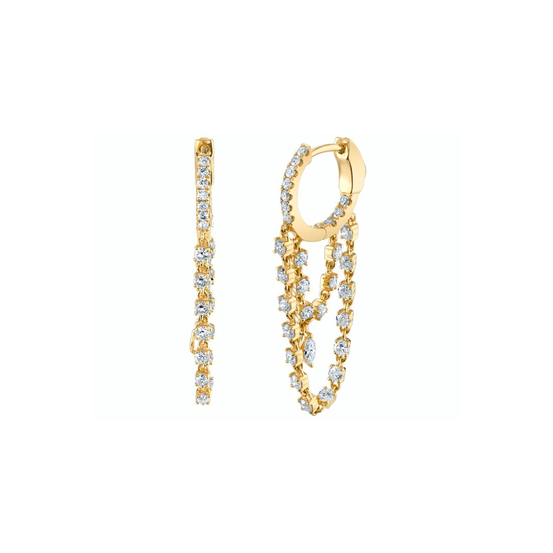 "18k Yellow Gold & Diamond ""Sophia"" Double Drop Huggies"