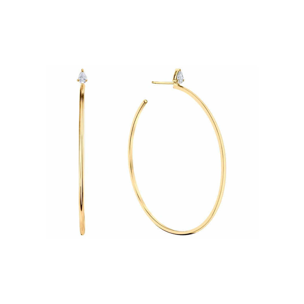 18k Yellow Gold Large Hoops with Pear-Shaped Diamonds