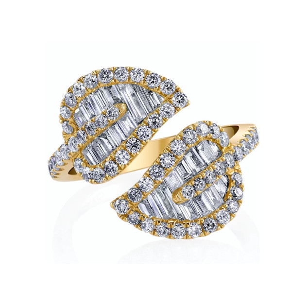 18k Yellow Gold & Diamond 2-Leaf Wrap Ring