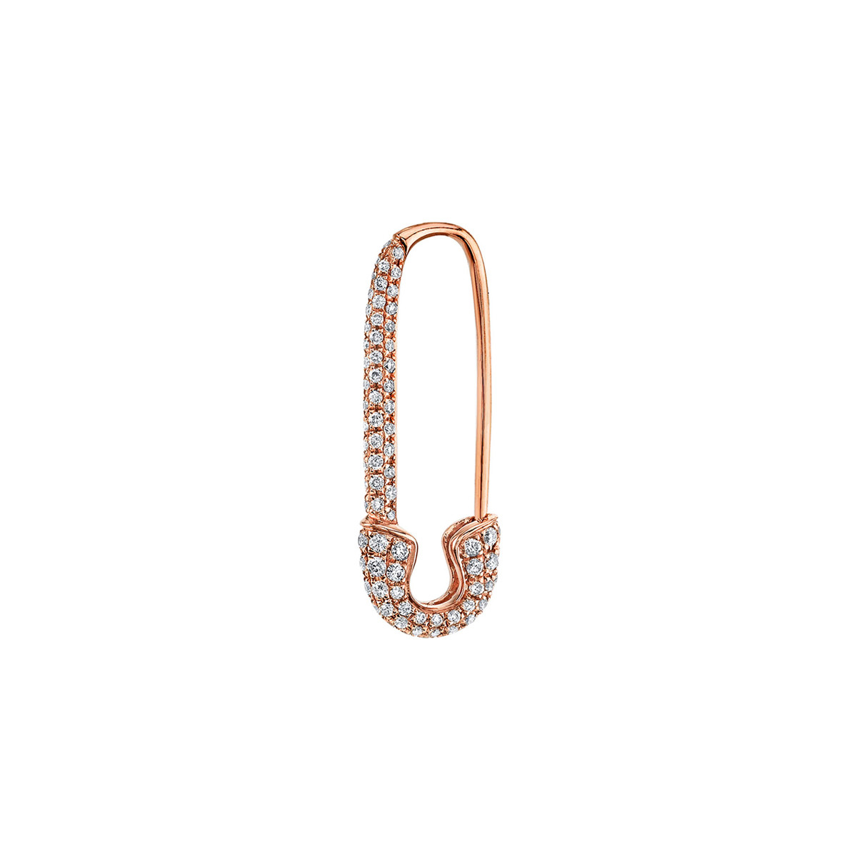 18k Rose Gold & Diamond Safety Pin Earring