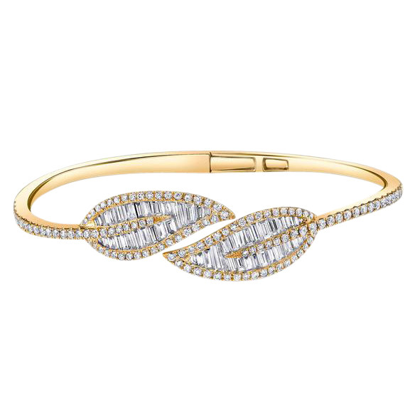18k Yellow Gold & Diamond Leaf Wrap Bracelet