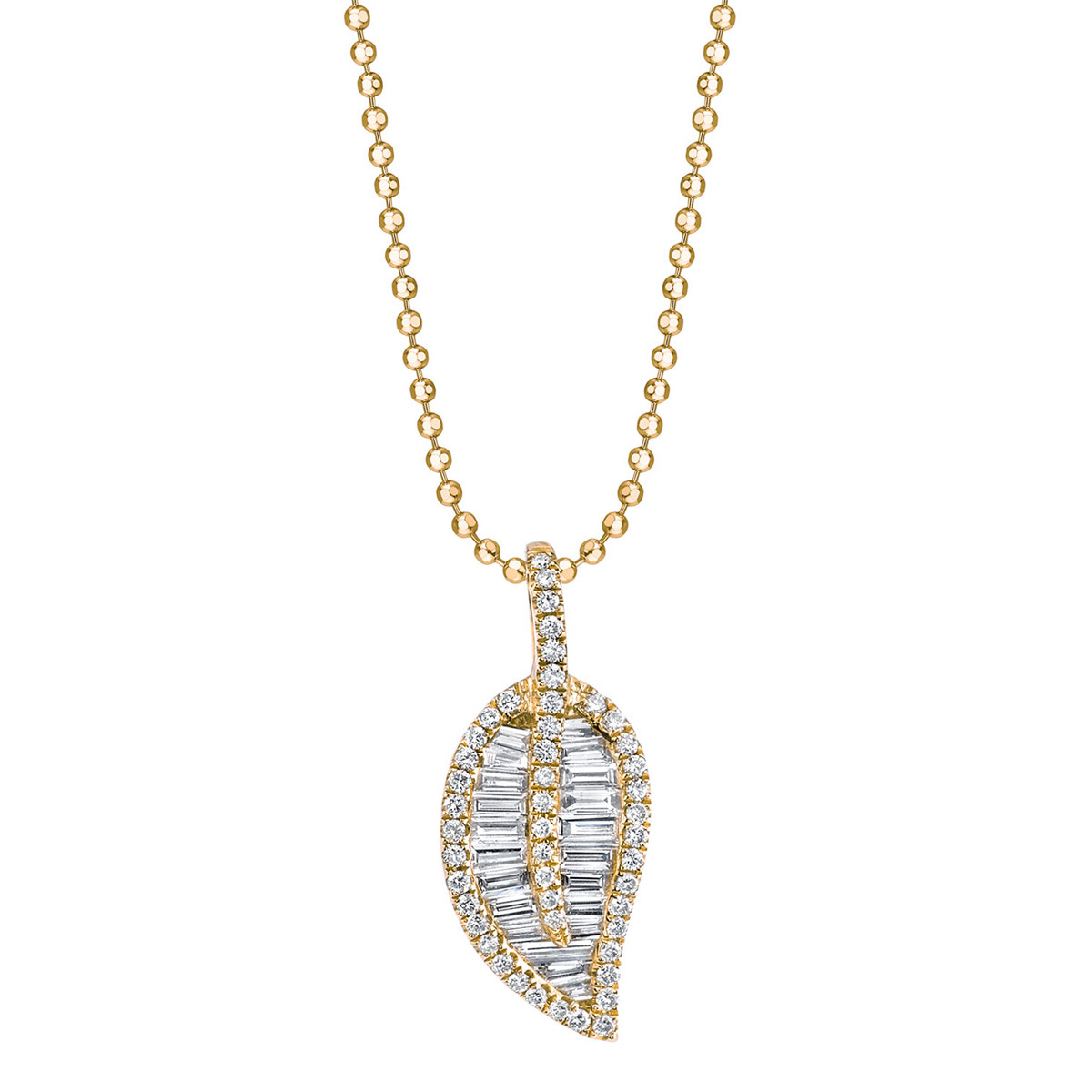 18k Yellow Gold & Diamond Leaf Pendant