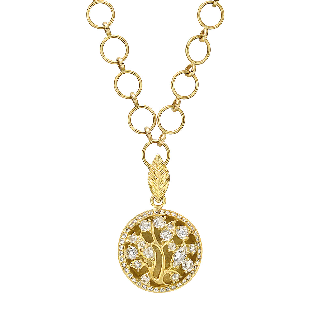 18k Yellow Gold & Diamond Circular Tree Pendant