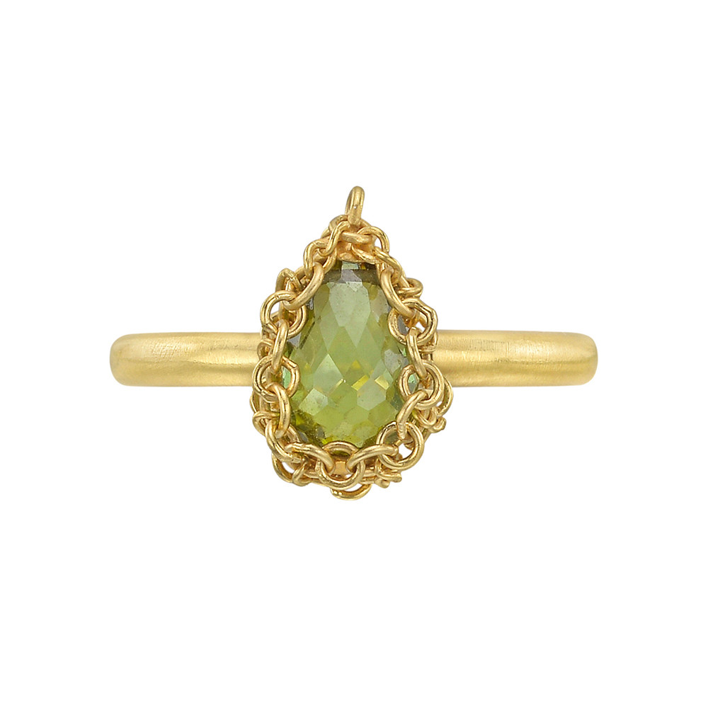 18k Gold & Green Tourmaline Ring