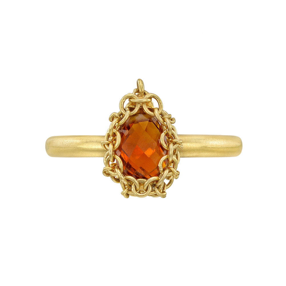 18k Gold & 'Red Fire' Citrine Ring