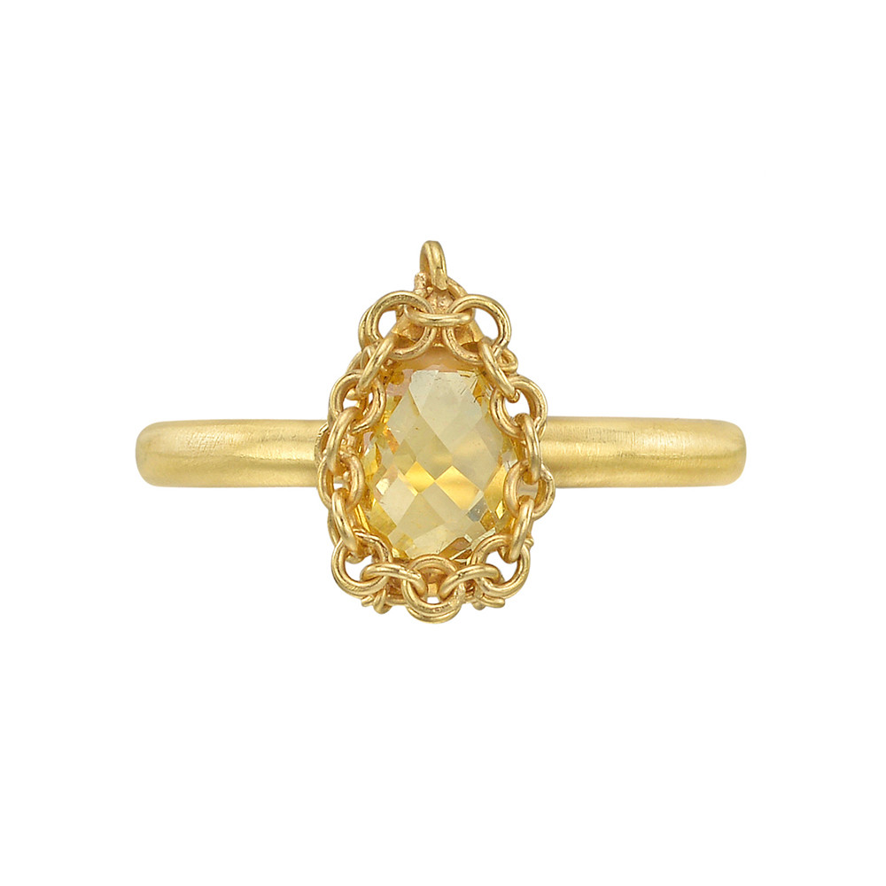 18k Gold & Yellow Beryl Ring