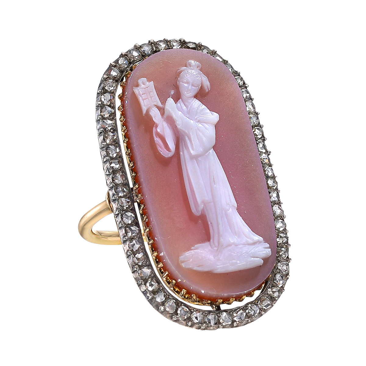 Antique Agate Cameo & Diamond Ring