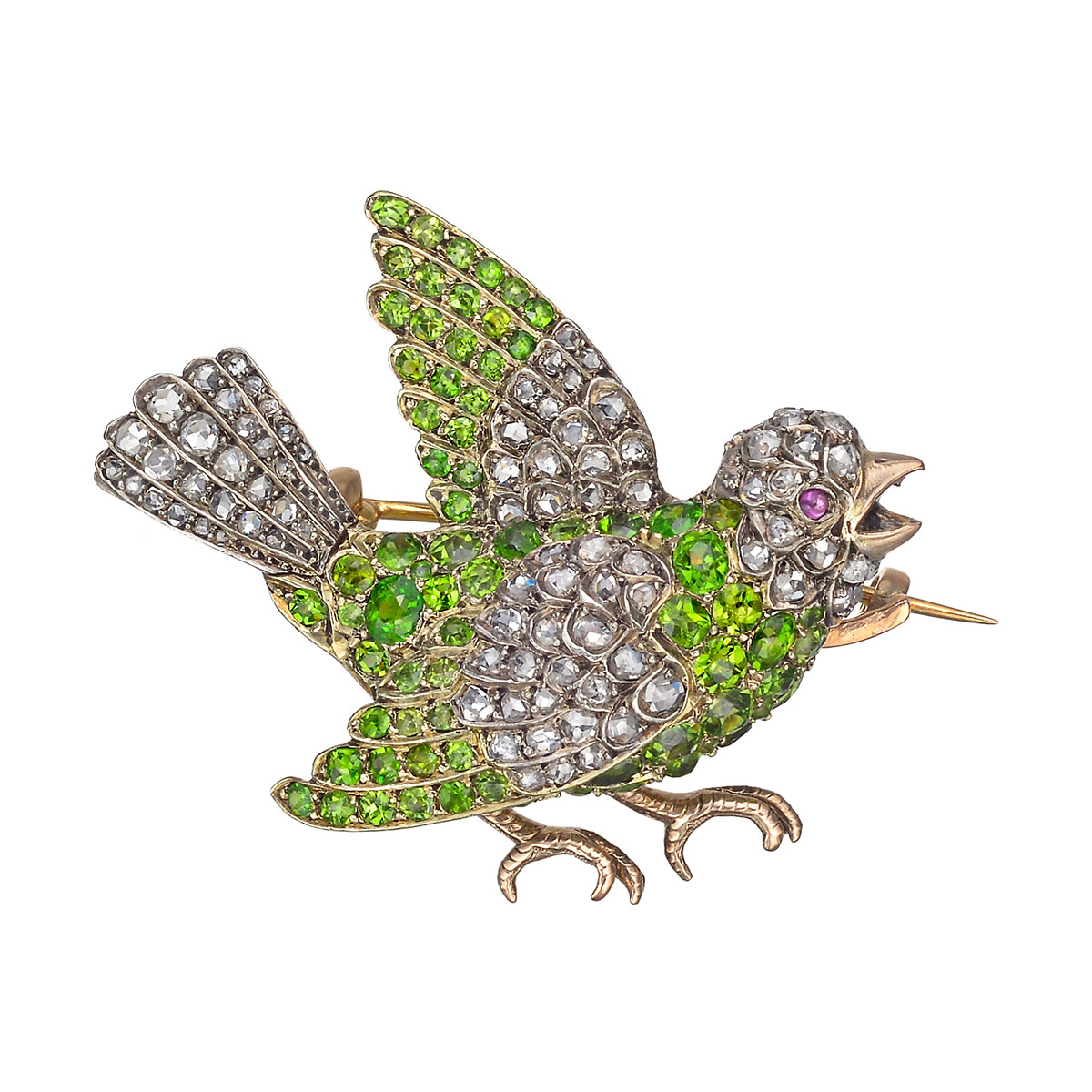 Antique Demantoid Garnet & Diamond Bird Pin