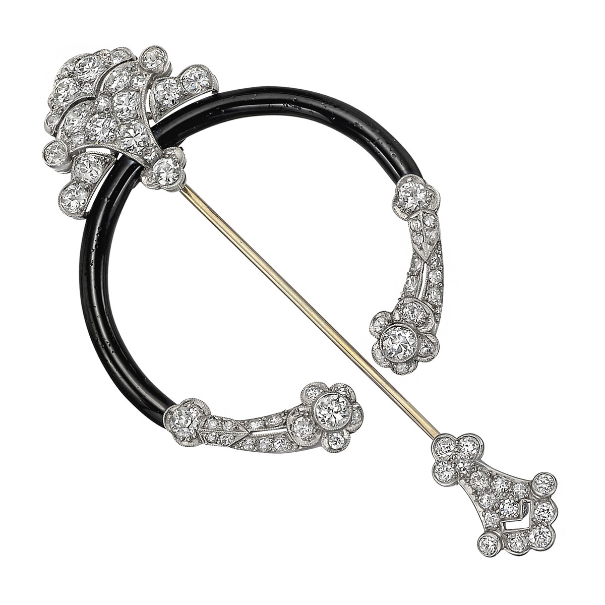 Antique Diamond & Black Enamel Fibula Brooch