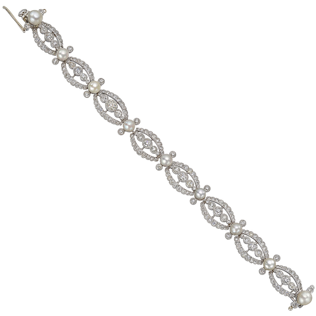 Turn-of-the-Century Old Mine Diamond & Pearl Bracelet