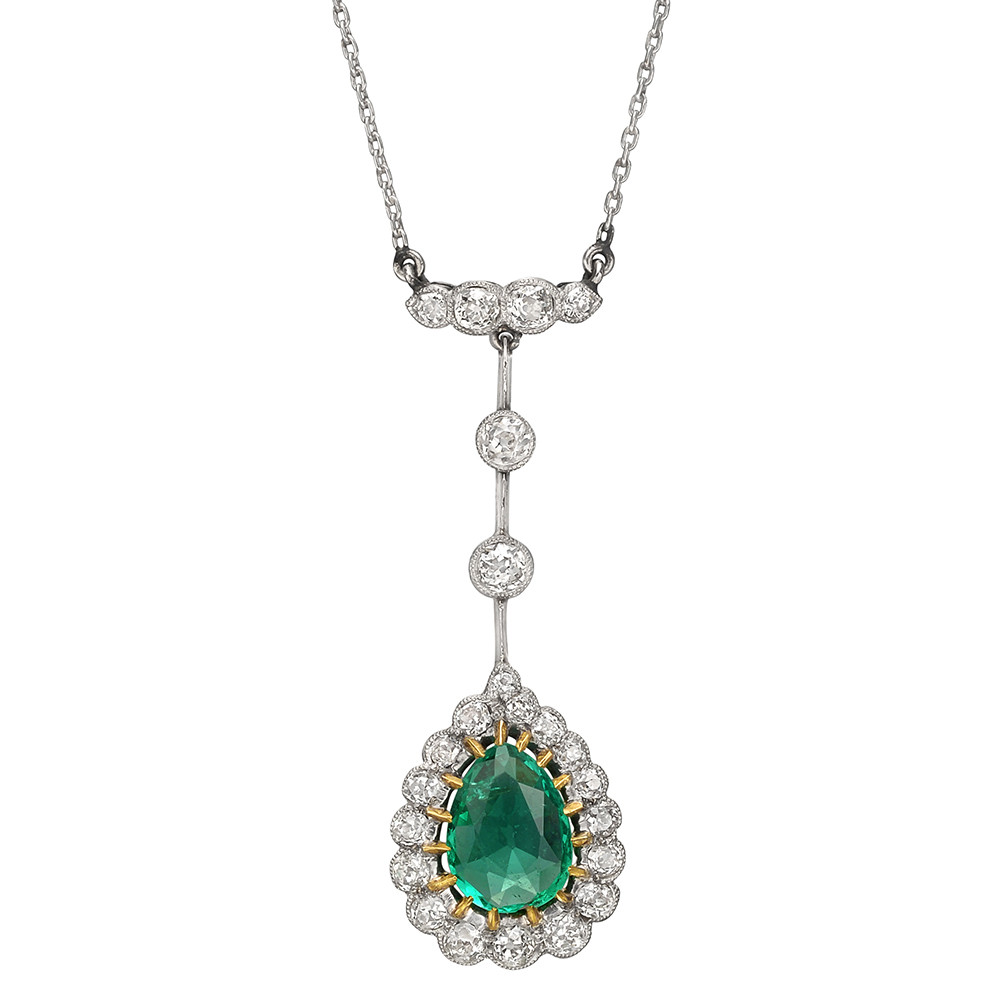 Turn-of-the-Century Emerald & Diamond Cluster Pendant