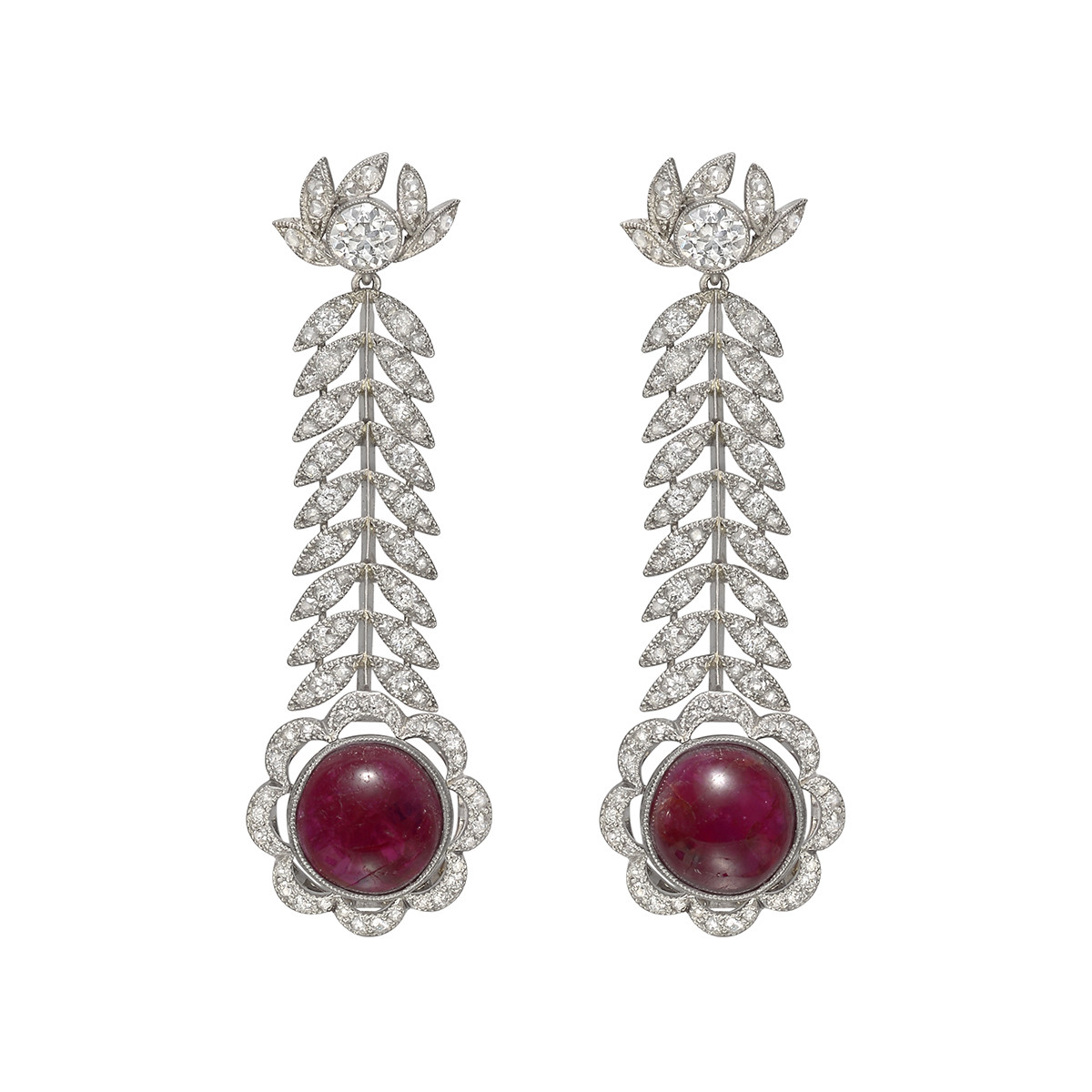 Antique Ruby & Diamond Foliate Drop Earrings