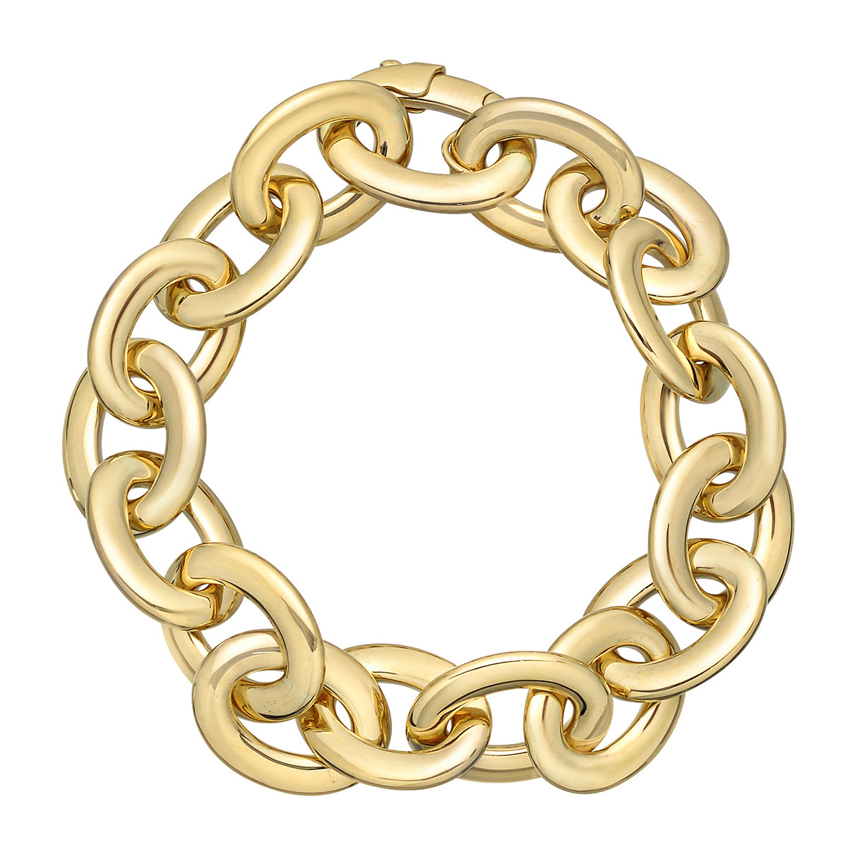 18k Yellow Gold Flat Oval Link Bracelet