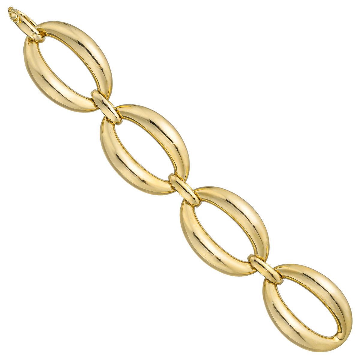 18k Yellow Gold Large Oval Four Link Bracelet