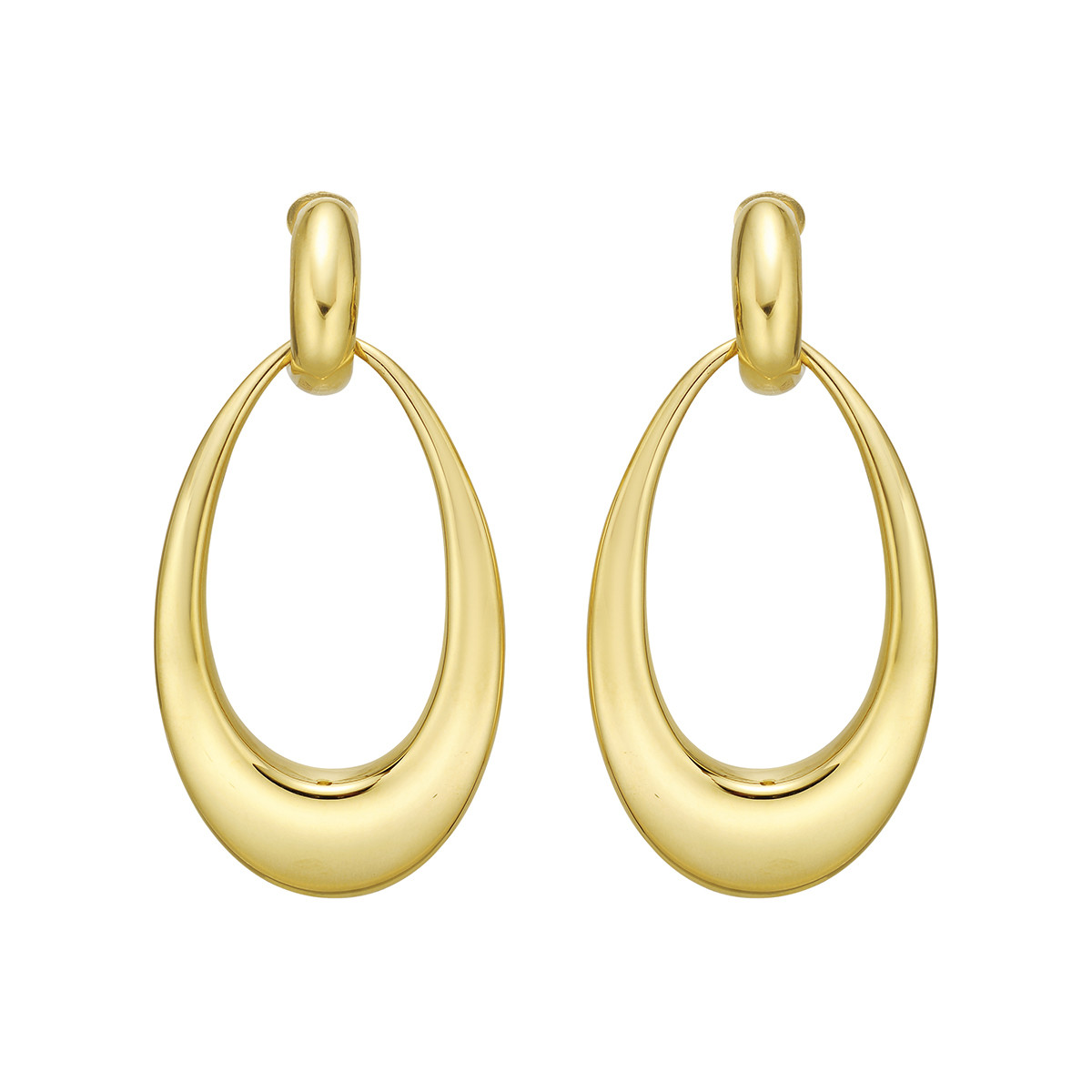 18k Yellow Gold Doorknocker Drop Earrings