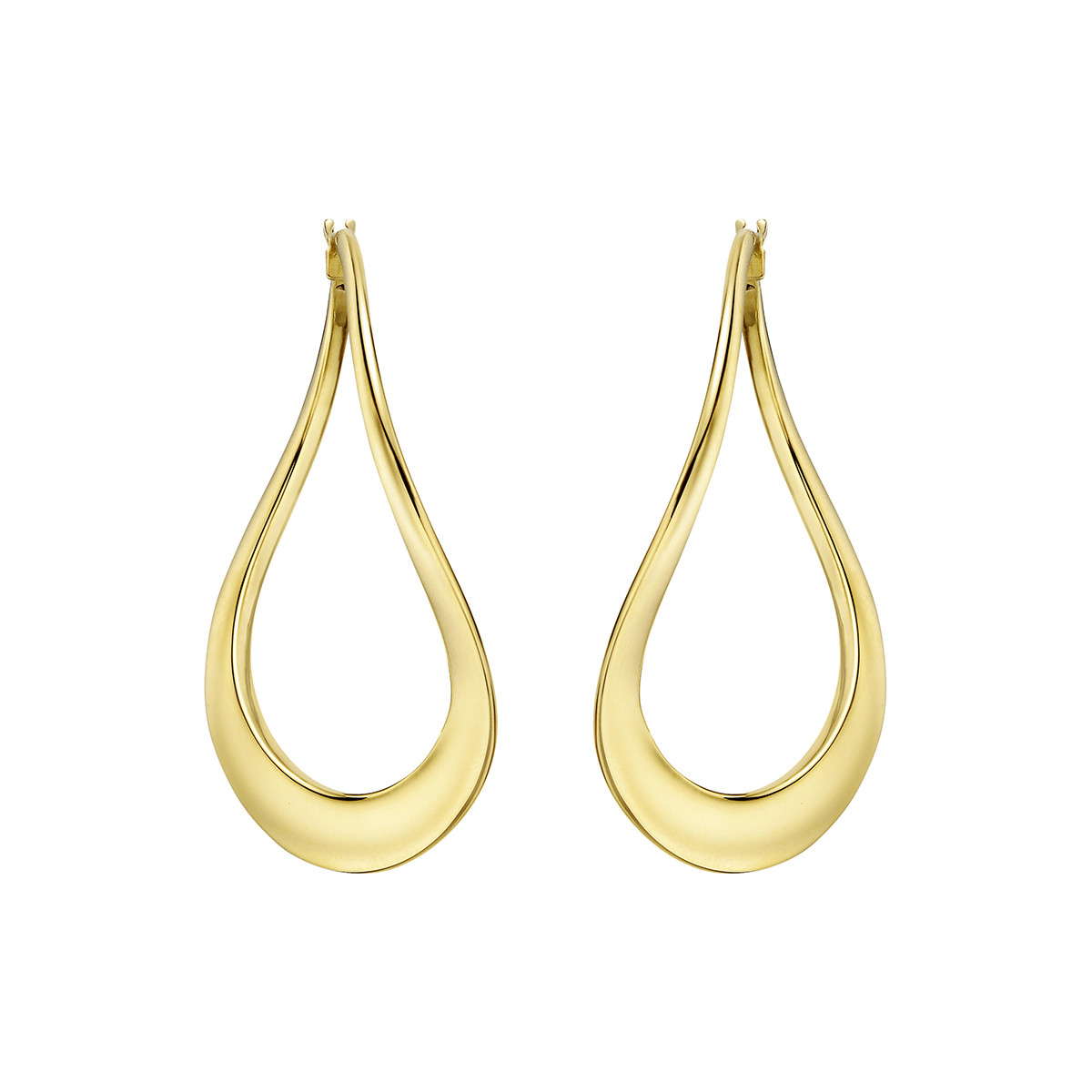 18k Yellow Gold Wavy Hoop Drop Earrings