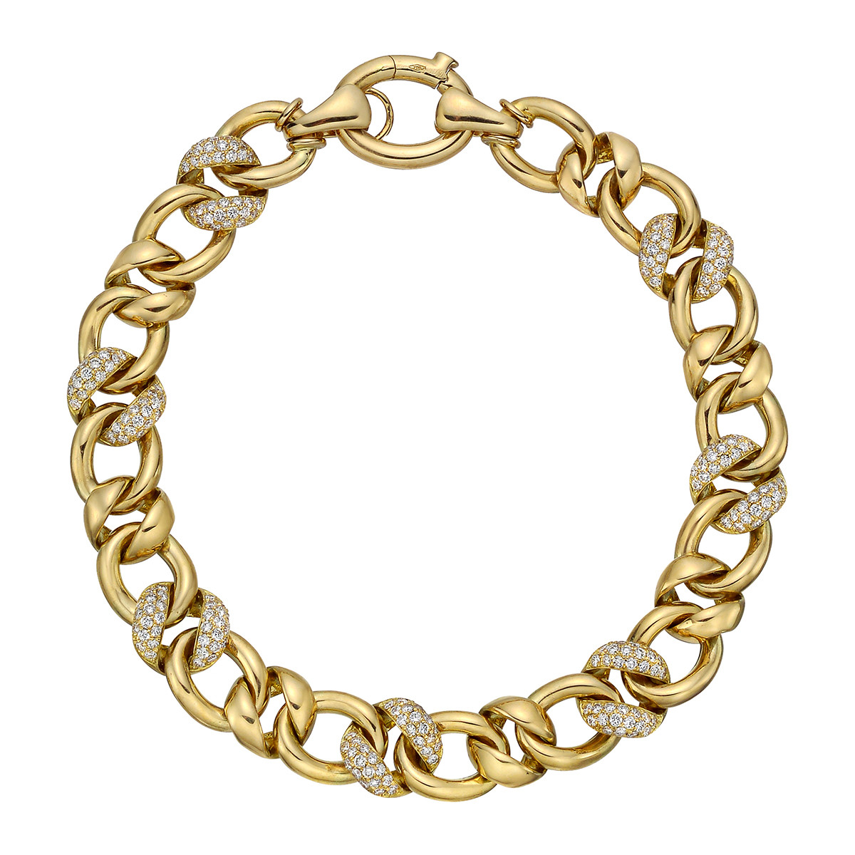 18k Yellow Gold & Pavé Diamond Link Bracelet