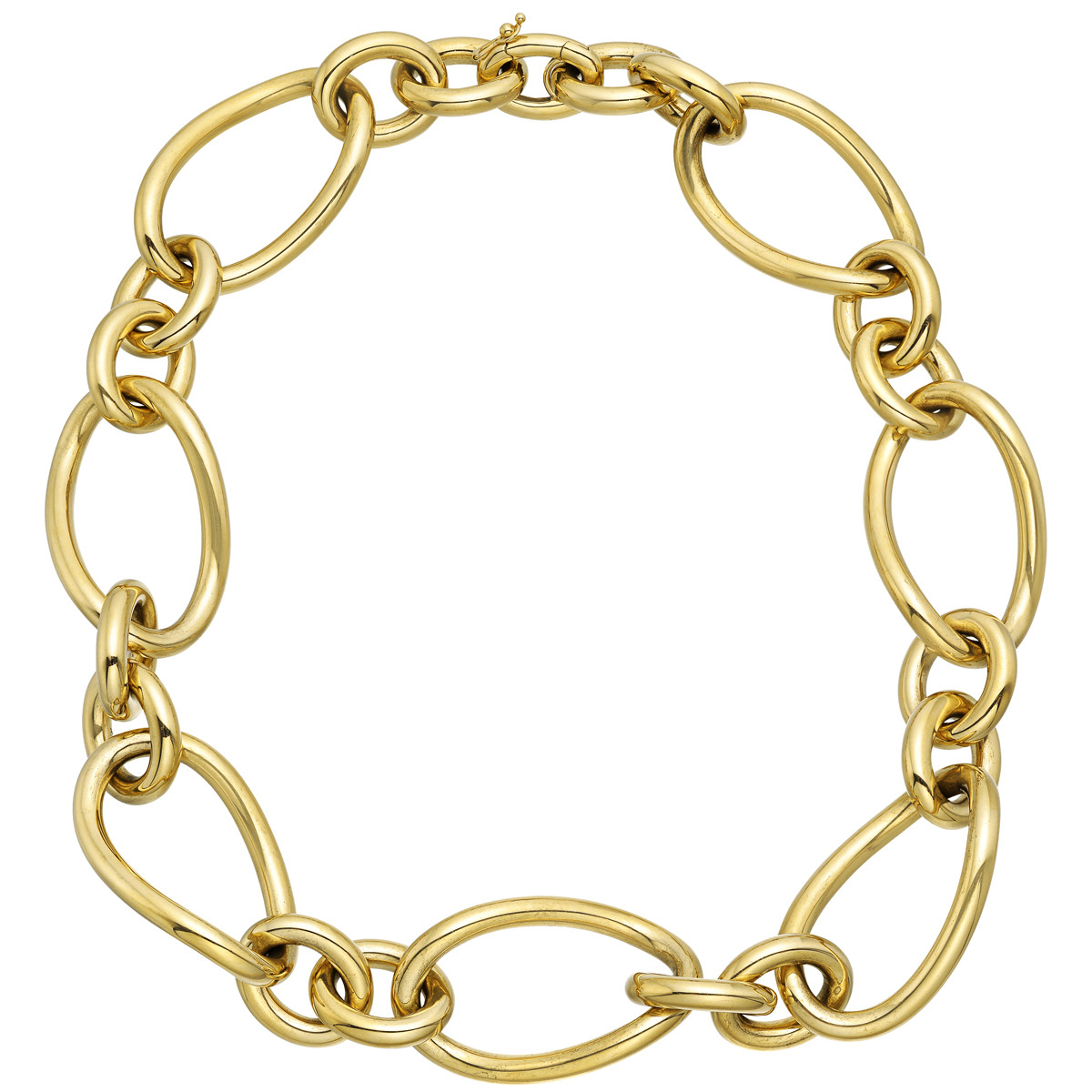 18k Yellow Gold Oval & Round Link Necklace