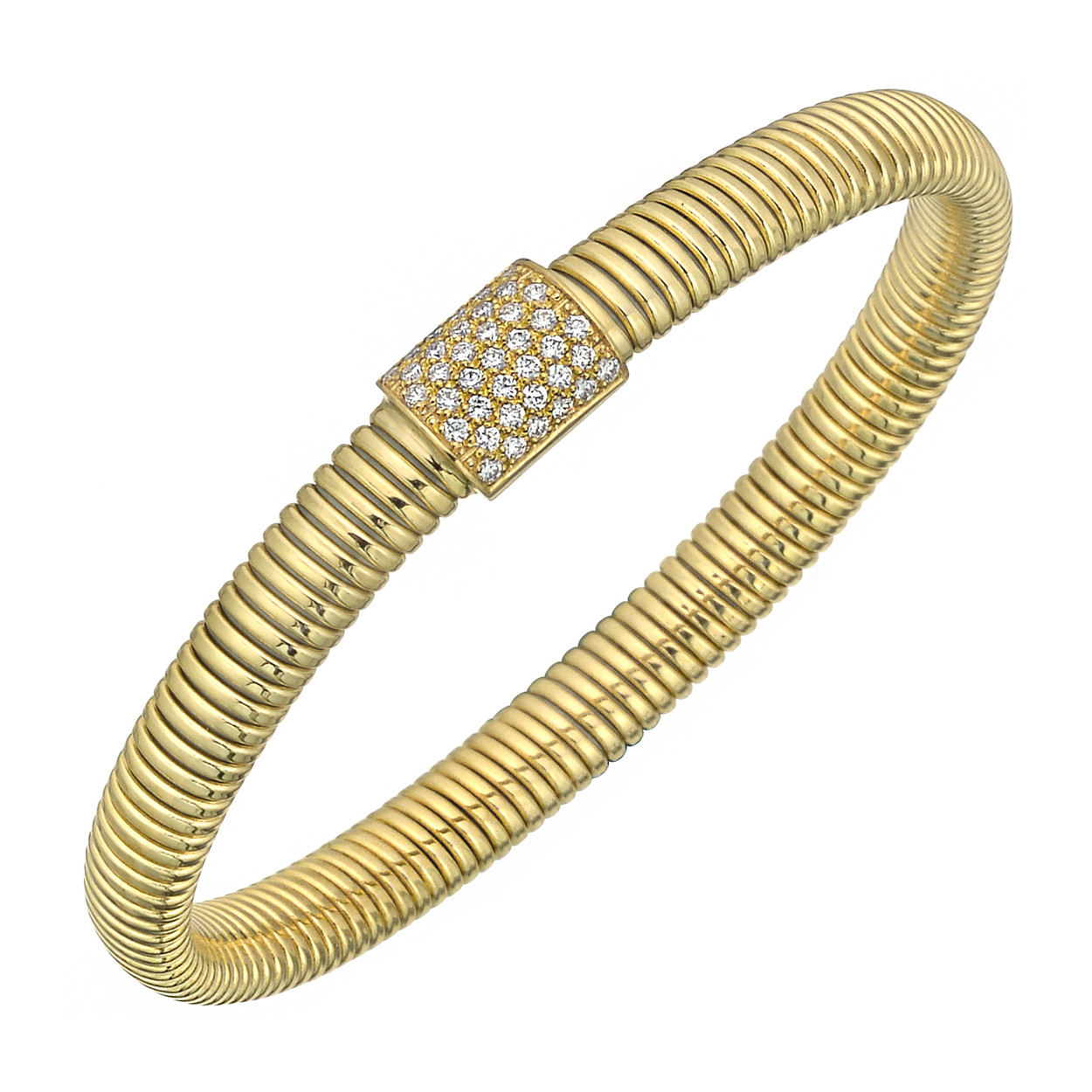 18k Yellow Gold & Diamond Ribbed Cuff