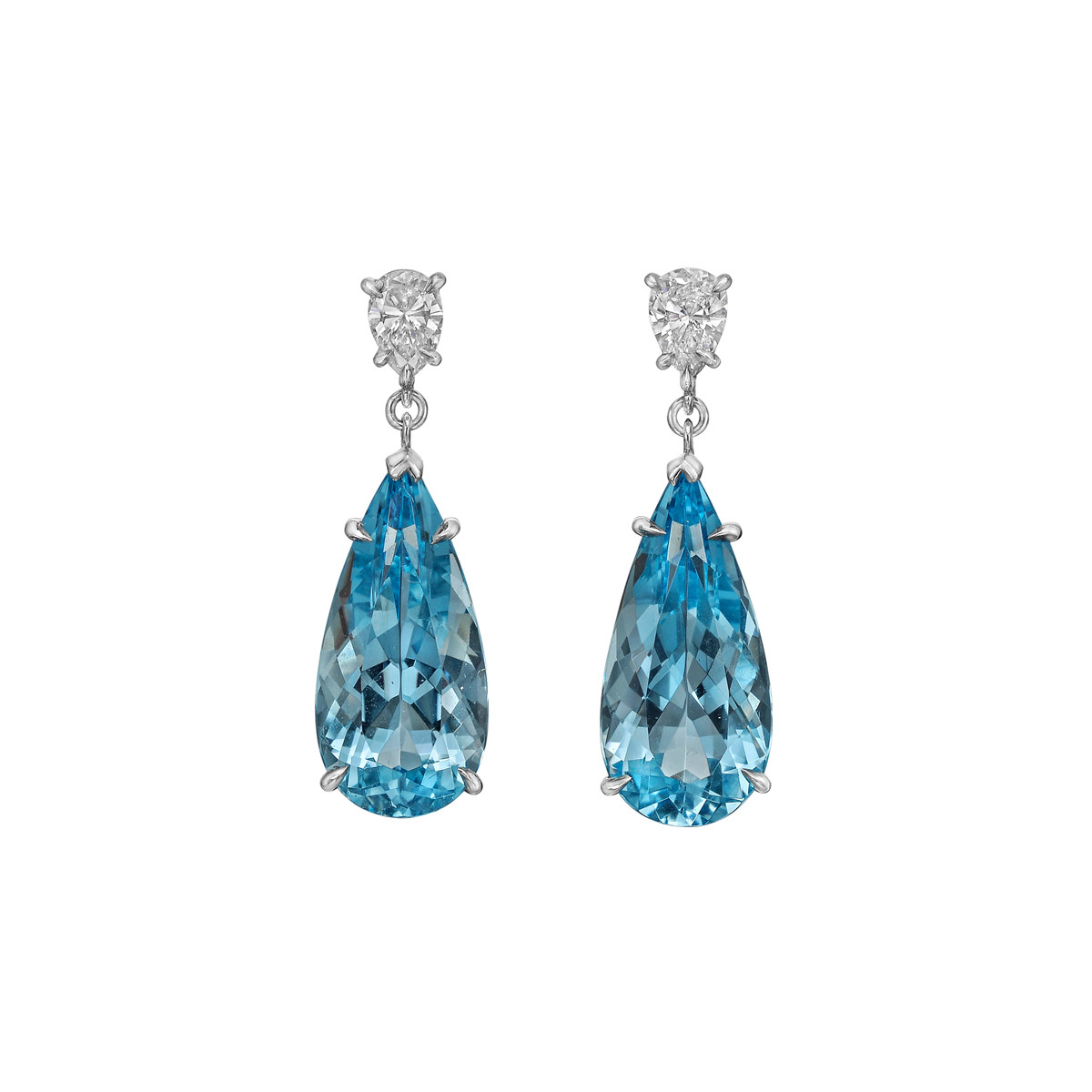 Aquamarine & Diamond Pendant Earrings