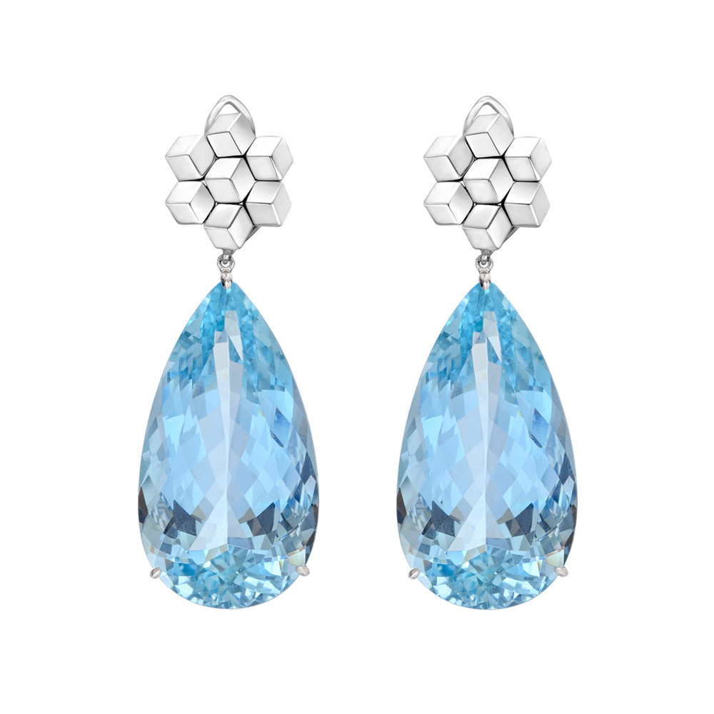 Aquamarine Drop Earrings With 18k White Gold Brillante Tops