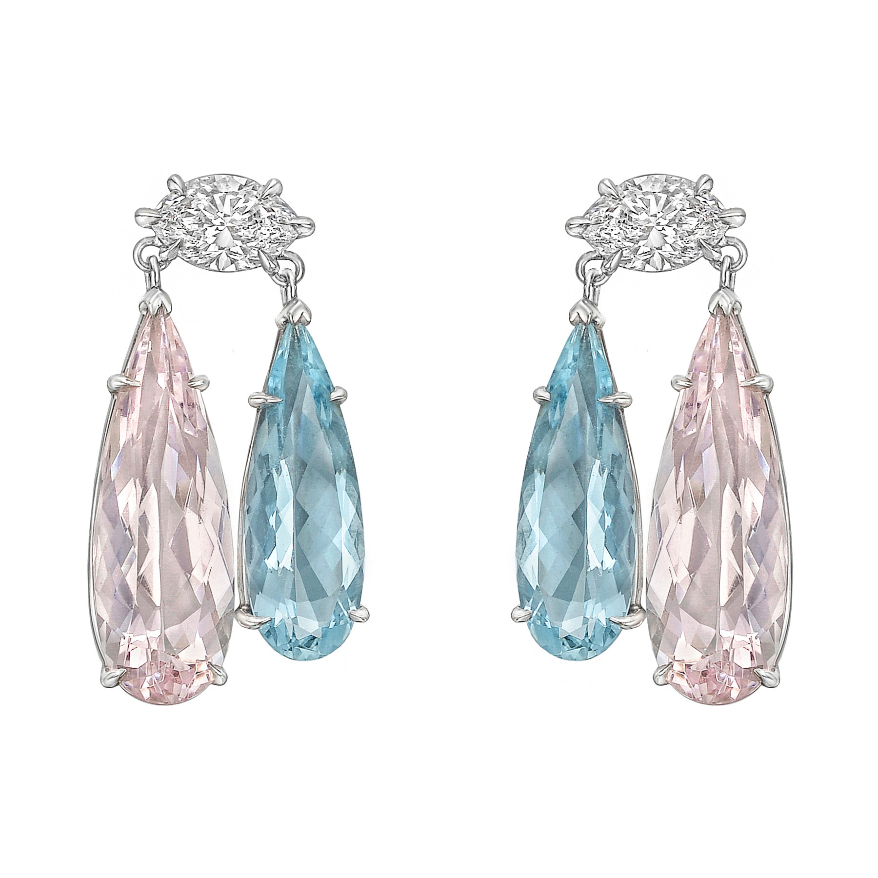 Morganite & Aquamarine Two-Drop Earrings